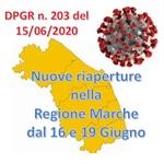 Nuove riaperture nella Regione Marche