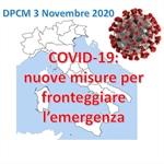 DPCM 3 Novembre: nuove misure per fronteggiare l'emergenza da Covid-19